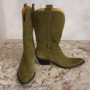 Sage Green Suede Western Cowboy Boots